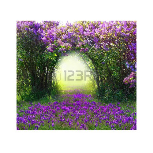 Tranh dán tường 3D vườn hoa tím lãng mạn PC11