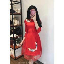 Váy áo dài cách tân đính hoa cực xinh