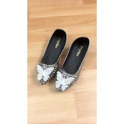 giày búp bê da mềm màu đen và xám chì