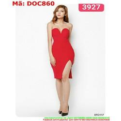 Đầm ôm body cúp ngang xẻ đùi sexy sang trọng DOC860