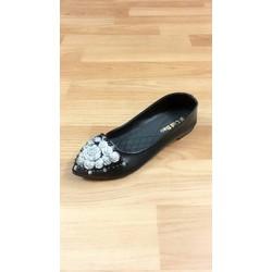 giày búp bê thời trang da mềm đen và xám
