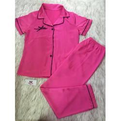 Set đồ ngủ Pyjama phi bóng cao cấp quần dài áo cộc tay