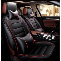 Bộ Áo ghế Da ô tô cao cấp _Đen  phối đỏ