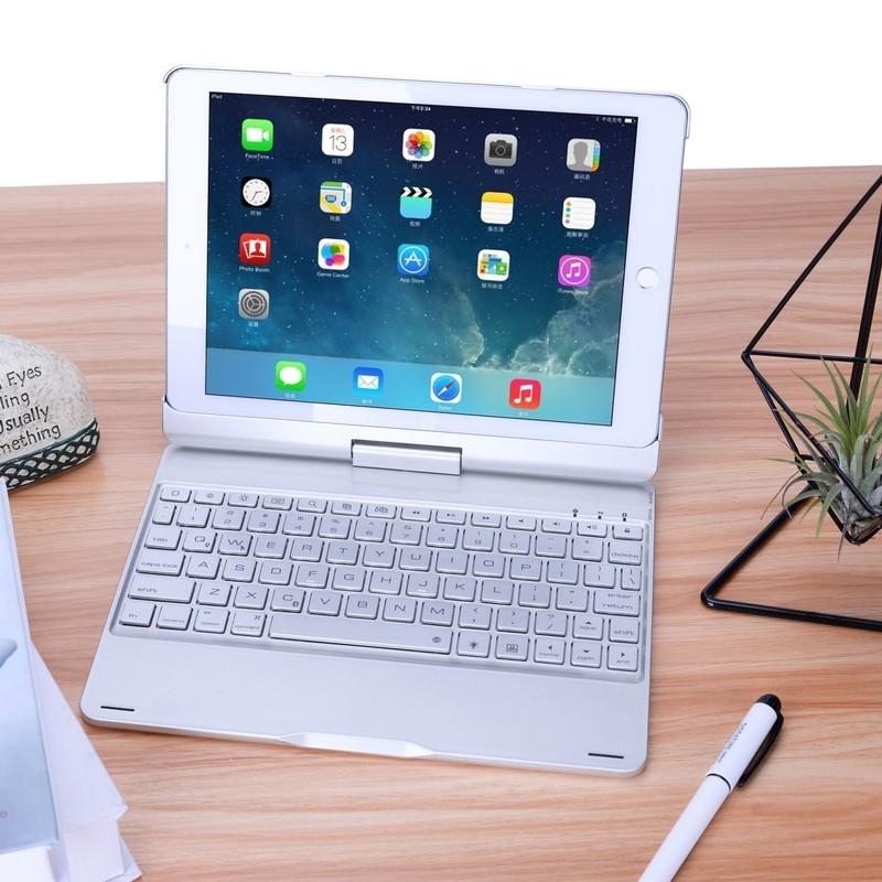Bàn Phím Bluetooth iPad 9.7 inch Ốp Lưng xoay 360° Đèn LED PKCB180 19