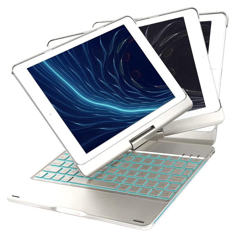 Bàn Phím Bluetooth iPad 9.7 inch Ốp Lưng xoay 360° Đèn LED PKCB180 15