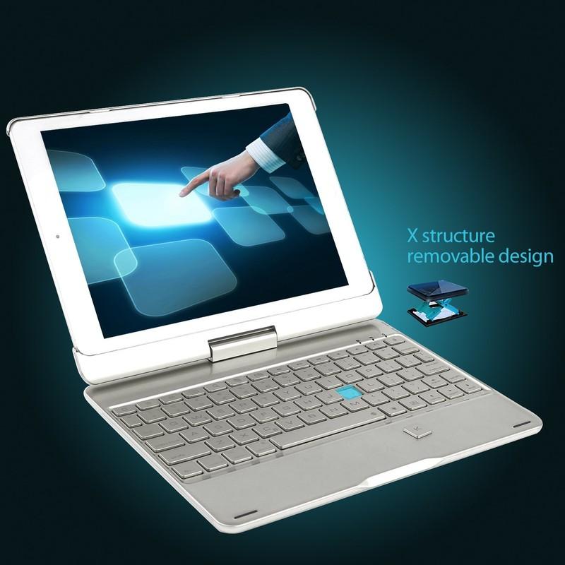 Bàn Phím Bluetooth iPad 9.7 inch Ốp Lưng xoay 360° Đèn LED PKCB180 13