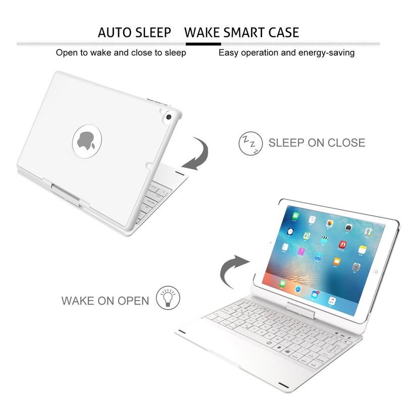 Bàn Phím Bluetooth iPad 9.7 inch Ốp Lưng xoay 360° Đèn LED PKCB180 9
