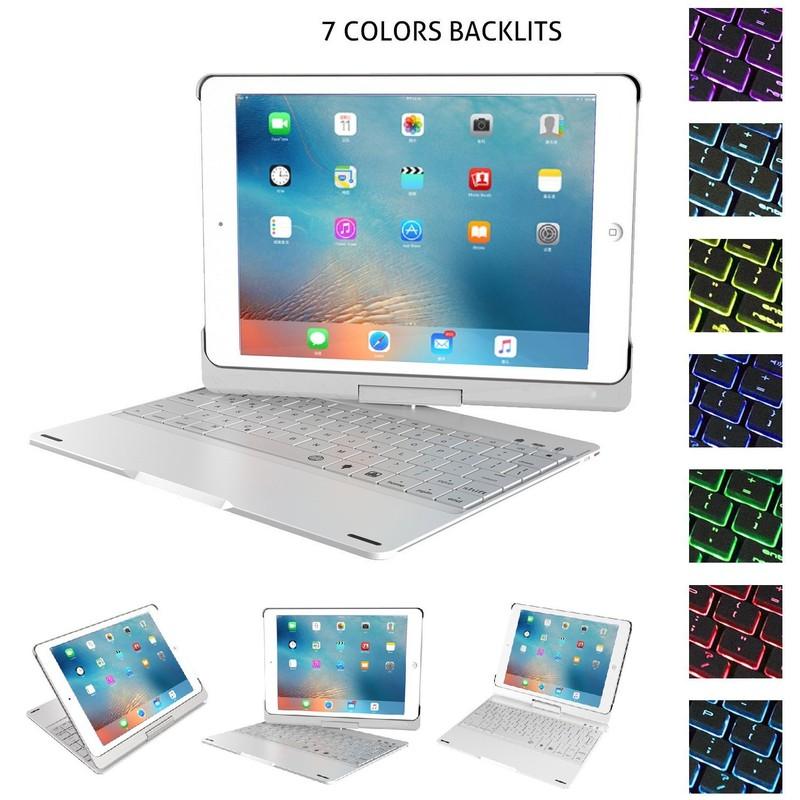 Bàn Phím Bluetooth iPad 9.7 inch Ốp Lưng xoay 360° Đèn LED PKCB180 7