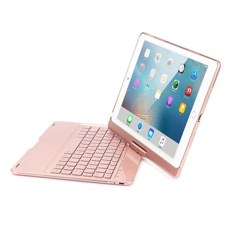 Bàn Phím Bluetooth iPad 9.7 inch Ốp Lưng xoay 360° Đèn LED PKCB180 1