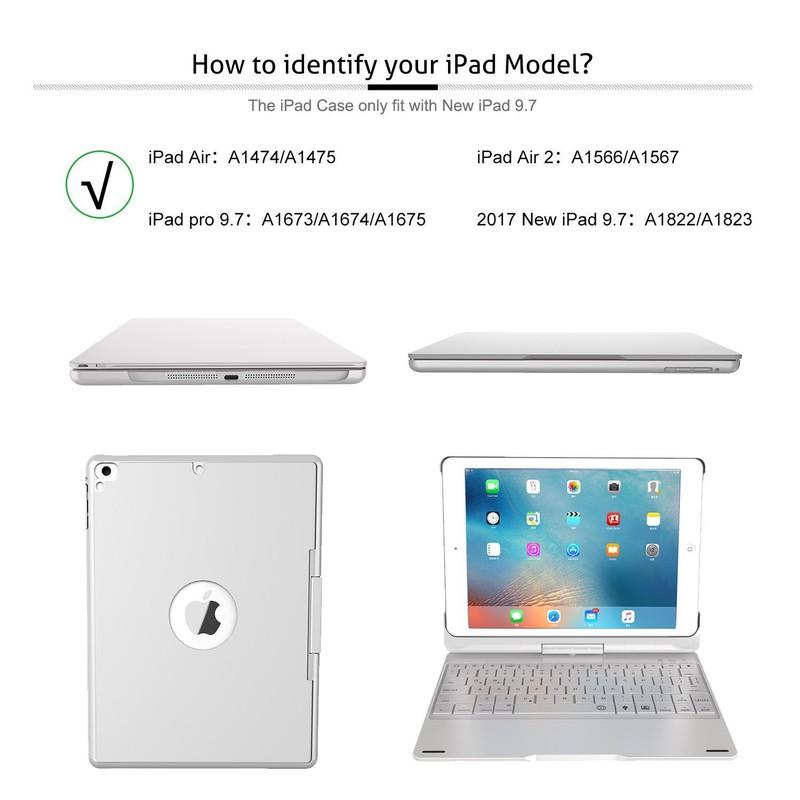 Bàn Phím Bluetooth iPad 9.7 inch Ốp Lưng xoay 360° Đèn LED PKCB180 3