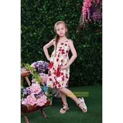 Váy hoa đỏ nơ vai