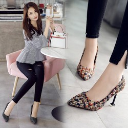Giày cao gót caro