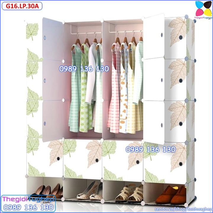 Tủ quần áo nhựa lắp ráp ghép thông minh đa năng 12 ô giá rẻ lá phong 10