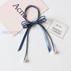 Cột tóc thời trang handmade Hàn Quốc xanh