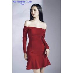 Đầm Ôm Body Tay Dài Vai Ngang