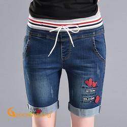 Quần lửng nữ lưng cao quần short jean nữ lưng thun màu xanh đen GLQ063