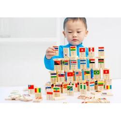 Đồ chơi gỗ trí tuệ - Bộ domino cờ 100 quốc gia 4 thứ tiếng