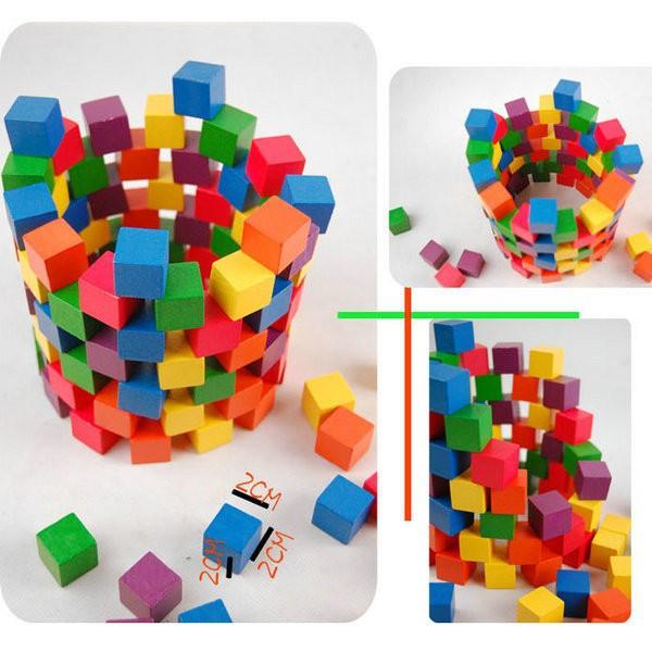 Đồ chơi gỗ trí tuệ - Bộ 100 khối lập phương CUBE 2cm 1