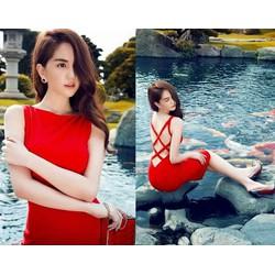 Đầm body đỏ đan chéo dây lưng
