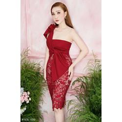 Đầm ôm body kiểu lệch vai phối ren cao cấp