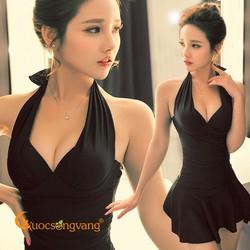 Váy đầm bơi màu đen đồ đi biển nữ một mảnh GLSWIM014