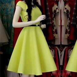 Đầm xòe cổ V kèm belt đơn giản cực xinh