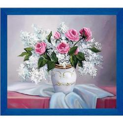 Tranh đính đá bình hoa hồng
