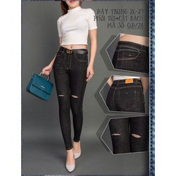Quần Jeans Nữ Xám Rách 2 Đùi Cá Tính Size 26-35