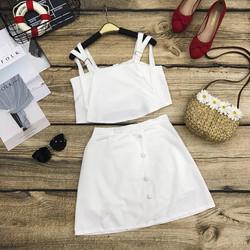 Set áo 2 dây croptop chân váy nút dọc xéo