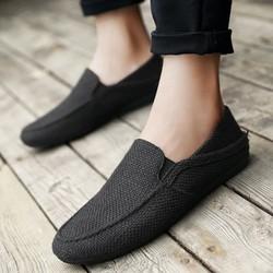 Giày lười vải nam thời trang màu đen full back 09