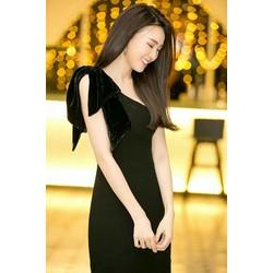 Đầm Lệch Vai Nơ Nhung Đen