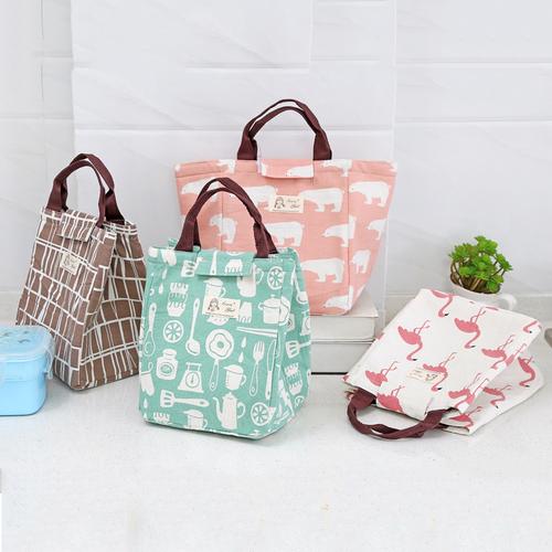 Túi giữ nhiệt kiểu Nhật Gấu, Hạc, Vỏ Cây, Ấm trà