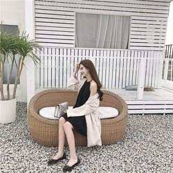 Đầm suông cổ yếm Hàn Quốc