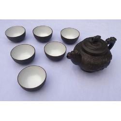 Bộ ấm chén uống trà tử sa hình đầu Rồng  Binh Minh