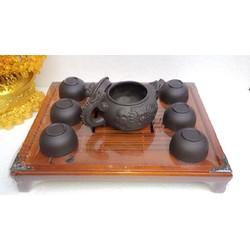 Bộ ấm chén tử xa nâu đen HB16-kèm khay trà gỗ cao cấp Binh Minh