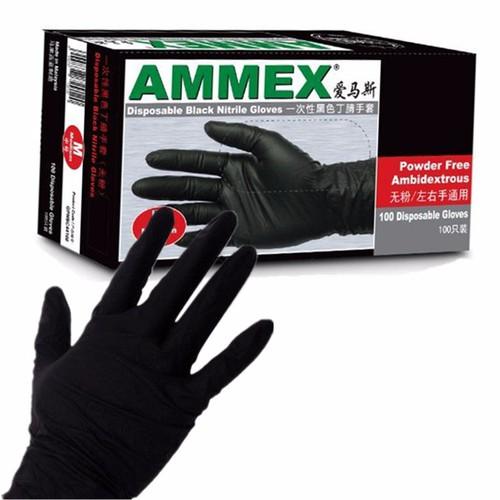 Găng tay cao su hóa chất màu đen AMMEX