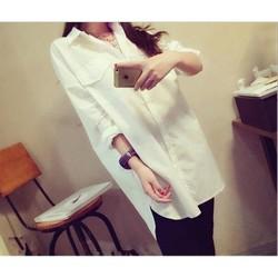 áo sơ mi trắng dáng xuông dài