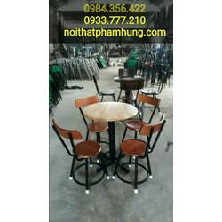 bàn ghế gỗ đôn cafe thanh lý