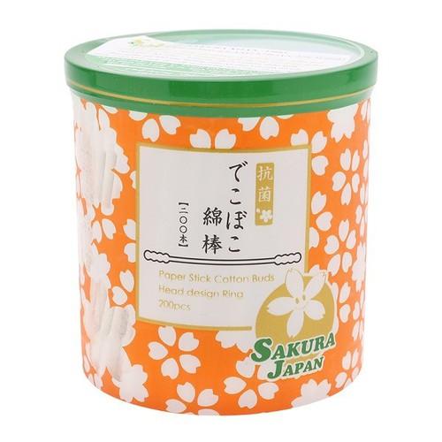 Tăm bông đầu xoắn kháng khuẩn Sakura Paper Stick Cotton Buds 200 chiếc