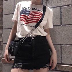 Set Áo Cờ Mỹ + Quần Giả Váy Jean