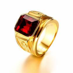 Nhẫn nam thời trang chạm rồng vàng mạ 24k, mặt đá đỏ RC183