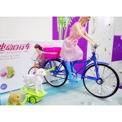 Đồ chơi xe đạp chạy bin, búp bê dắt chó, có đèn nhạc- Đồ chơi trẻ em