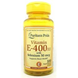 Vitamin E 400IU Selenium 50mcg chai 100 viên Mỹ Puritan Pride e 400 IU