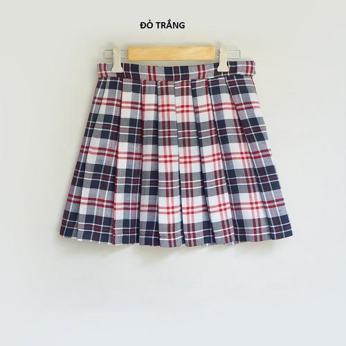 chân váy caro xếp ly, chân váy caro CV060