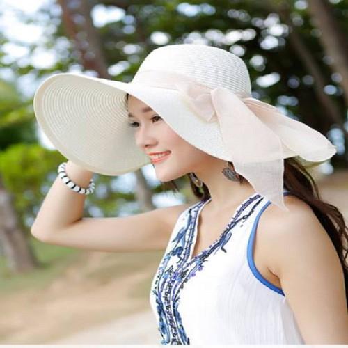 mũ cói rộng vành thắt nơ, nón cói đi biển, mũ đi biển rộng vành