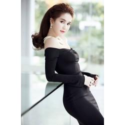 Đầm body đen tay dài Ngọc Trinh