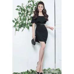 Đầm body đen ngang vai