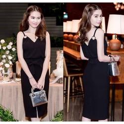 Áo váy Ngọc Trinh kiểu áo 2 dây kiểu cột nơ xinh xắn