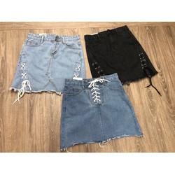 chân váy jean đan dây - size s m l