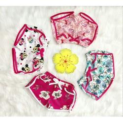 Combo 4 quần đùi bé gái thun cotton nhiều họa tiết
